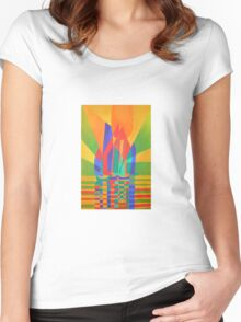 Dreamboat - Cubist Junk In Primary Colors Women's Fitted Scoop T-Shirt
