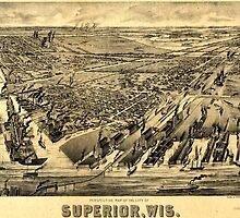 Panoramic Maps Perspective map of the city of Superior Wis by wetdryvac