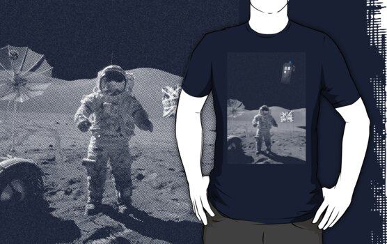 Doctored Moon Landing | White Ink by geekchic  tees