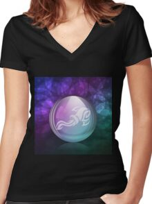 Luminescent snow globe Women's Fitted V-Neck T-Shirt