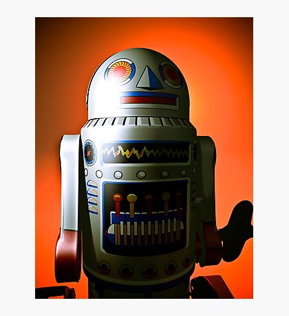 Retro Cropped Toy Robot 02 Photographic Print