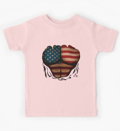 American Flag  Body Muscles  Ripped Funny Patriotic T-Shirt Kids Tee