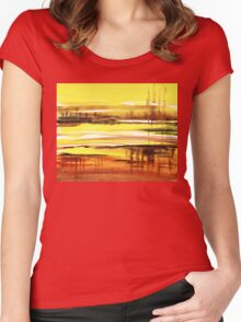 Reflection Abstract Landscape Women's Fitted Scoop T-Shirt