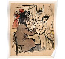 Théophile Alexandre Steinlen A man visits a woman in hospital Colour photomechanical rep Poster