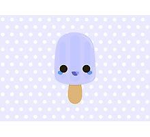 Yummy kawaii blue ice lolly Photographic Print