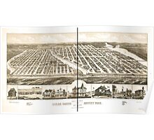 Panoramic Maps Bird's eye view of Ocean Grove and Asbury Park New Jersey 1881 Poster