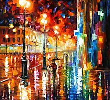 THE TEMPO OF THE RAIN- OIL PAINTING BY LEONID AFREMOV by Leonid  Afremov