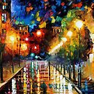 NIGHT BOULEVARD - OIL PAINTING BY LEONID AFREMOV by Leonid  Afremov