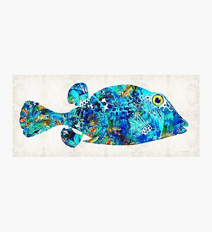 Blue Puffer Fish Art by Sharon Cummings Photographic Print