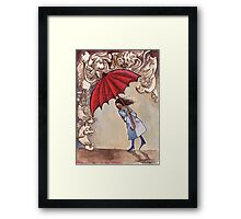 The Red Umbrella Framed Print