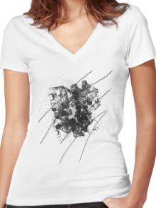 Cool Rusty Grunge Vintage Scratches  Women's Fitted V-Neck T-Shirt