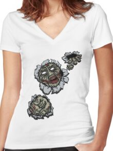 Zombie Escape Women's Fitted V-Neck T-Shirt