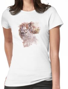 Mononoke and the Wolf Digital Painting Womens Fitted T-Shirt