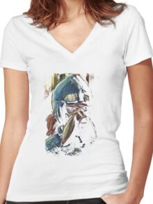 Nausicaa Valley of the Wind Anime Tra Digital Painting  Women's Fitted V-Neck T-Shirt