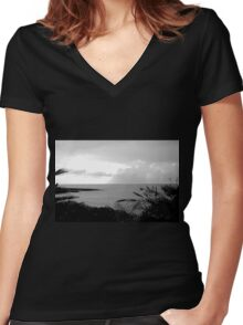 Ocean View#1 Women's Fitted V-Neck T-Shirt