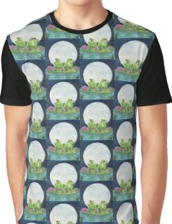Frogs Full Moon Lily Pad Wildlife Cathy Peek Graphic T-Shirt