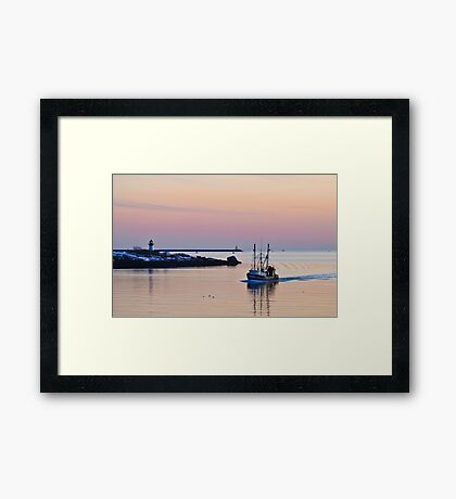 Returning from Sea on a Winter's Night Framed Print