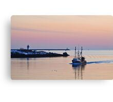 Returning from Sea on a Winter's Night Canvas Print