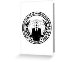 Anonymous Logo with Slogan Greeting Card