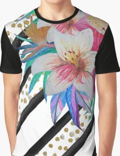 Watercolor hand paint tropical flowers, stripes, faux gold glitter drops Graphic T-Shirt