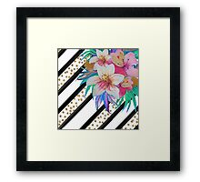Watercolor hand paint tropical flowers, stripes, faux gold glitter drops Framed Print