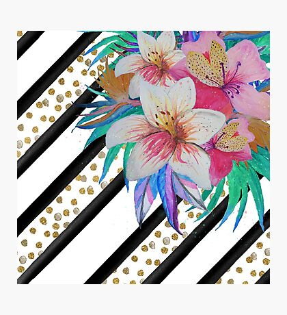 Watercolor hand paint tropical flowers, stripes, faux gold glitter drops Photographic Print