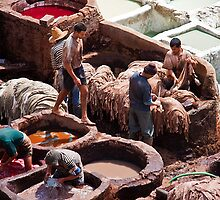 Morocco. Fes. Fes el Bali. Workmen of the Tanneries. by vadim19