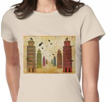 Twin Rainbow Towers Womens Fitted T-Shirt