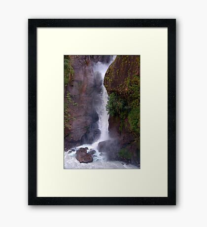 Crashing Waterfall into Marsyangdi River Framed Print