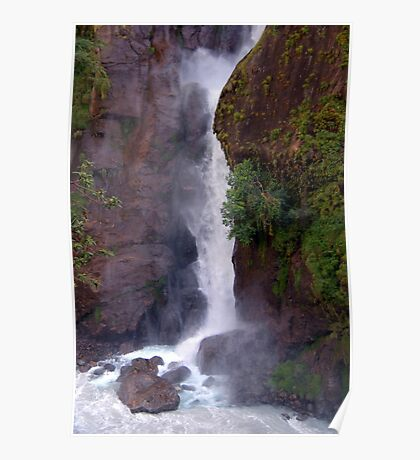 Crashing Waterfall into Marsyangdi River Poster