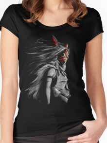 Mononoke Wolf Anime Tra Digital Painting Women's Fitted Scoop T-Shirt