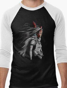 Mononoke Wolf Anime Tra Digital Painting Men's Baseball ¾ T-Shirt