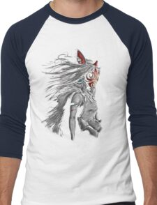 Mononoke Wolf Anime Tra Digital Painting Men's Baseball ¾ T-Shirt