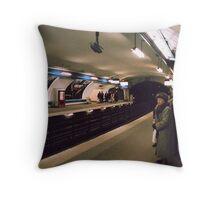 Couple waiting at the subway, paris. Throw Pillow