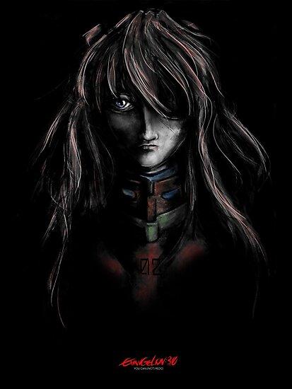 Asuka Evangelion Anime Tra Digital Painting  by barrettbiggers