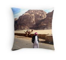 Tending to thy Camel Throw Pillow