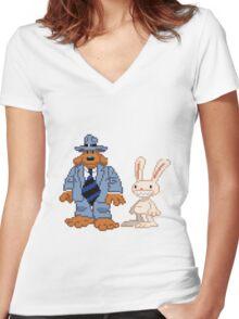 Sam & Max #02 Women's Fitted V-Neck T-Shirt