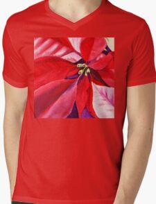 Christmas Red Poinsettia  Mens V-Neck T-Shirt