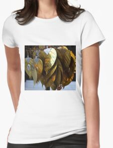 gold leaves Womens Fitted T-Shirt