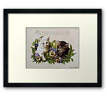 Victorian Christmas cards - kittens Framed Print