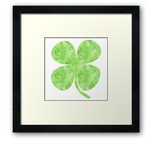 St. Patrick's Day Watercolor Clover Framed Print