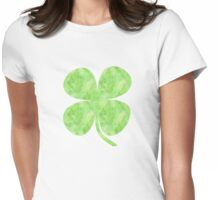 St. Patrick's Day Watercolor Clover Womens Fitted T-Shirt