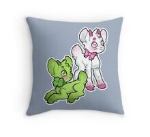 Clovers and Pink Ribbon Throw Pillow