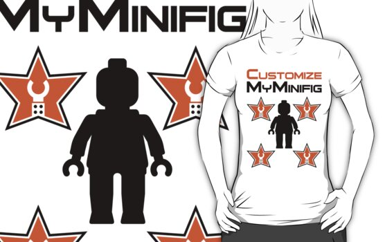 Minifig [Black] with Customize My Minifig Star Logos by ChilleeW