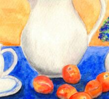 Still Life with Coffee Set and Nectarines Sticker