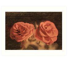 A pair of roses in sketch3  Art Print