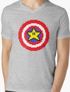 Captain pixel Mens V-Neck T-Shirt