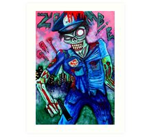 Zombie Cop (Horror Comics, Zombies) Art Print