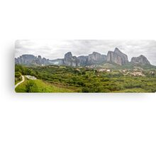 Spectacular panorama of Meteora rock formations and monasteries, Greece Metal Print
