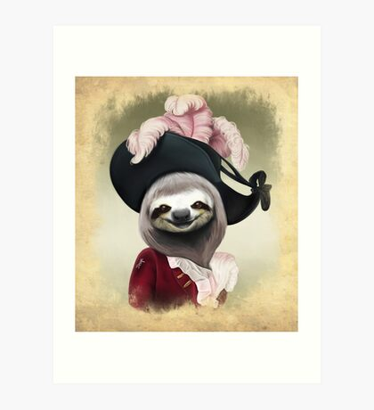 Aristocratic Lady Sloth Oil Painting Style Portrait Art Print
